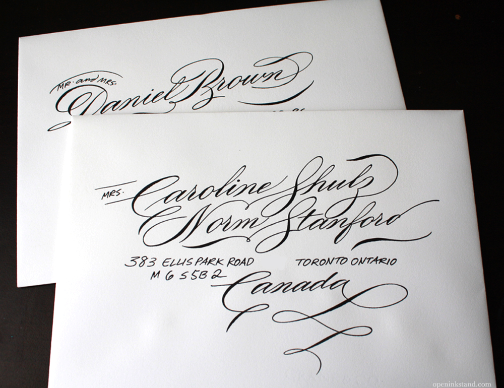 Calligraphy Envelopes With Block Address Lettering